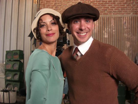 """Dedham's Ben Kurland is happy with his scene alongside Berenice Bejo in """"The Artist.''"""