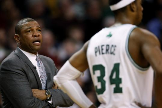 After tonight's game against Detroit, Doc Rivers will take the Celtics on the road for 14 of the next 19, quite a change from the early season.