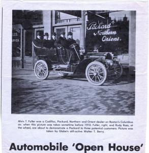 Alvan T. Fuller (front, right) is often credited with starting the Washington's Birthday tradition of car sales.