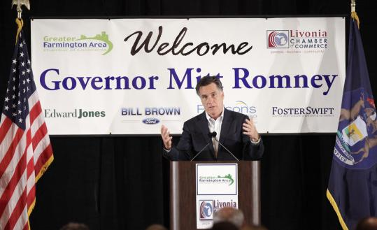 Mitt Romney spoke to supporters at a Chamber of Commerce meeting yesterday in Farmington Hills, Mich. Romney is ramping up attacks on Rick Santorum ahead of the Feb. 28 primary.