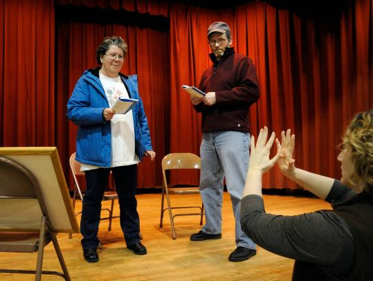 The Ghost Light Players' Katherine Alix-Gaudreau (right) rehearses Nancy Hilliard and Fred Haas.