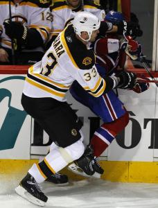 The scene of the crime, in the eyes of Montreal fans: Zdeno Chara crunches Max Pacioretty into the boards last March.