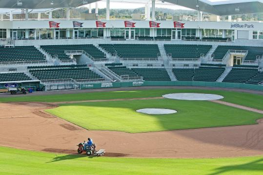 With spring training about to begin, workers got the new JetBlue Park ready for takeoff.