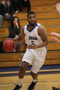 Bedford High grad Terrance Favors in action for Becker College, where the senior captain leads the team in key categories.