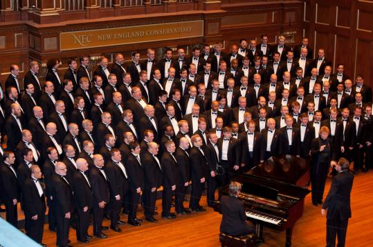 The Boston Gay Men's Chorus at a concert in Jordan Hall. The chorus performs in Rockland on March 11.
