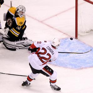 Ottawa's Erik Condra got too fancy and missed this glittering chance in the second period.