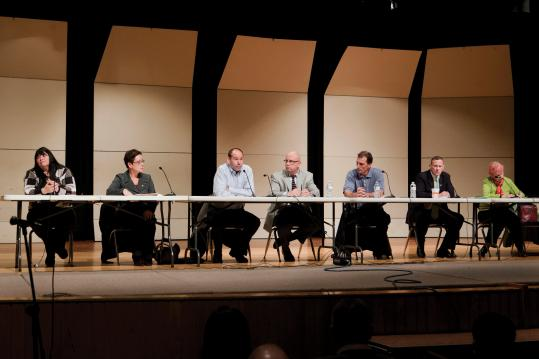 The Foxborough Board of Selectmen met last December to discuss a proposed casino for Foxborough. On May 7, incumbent Selectwoman Lorraine Brue and board chairman Larry Harrington will seek reelection to the board against four challengers.