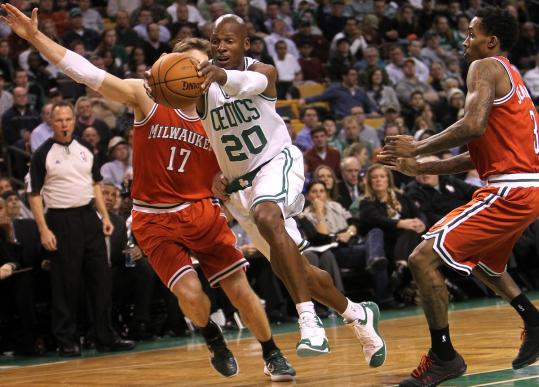 Ray Allen, who scored 15 points, had two hands on the wheel as he veered between a pair of Bucks in the first half.