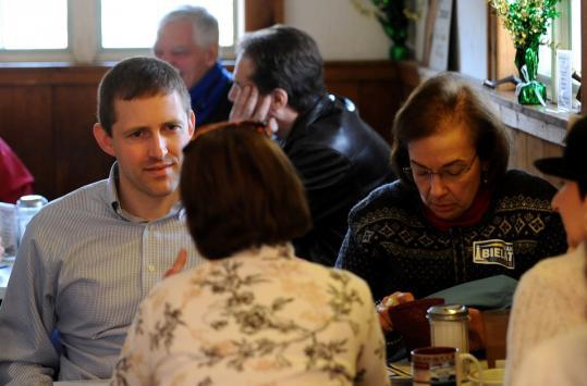 Sean Bielat met with campaign volunteers at the Golden Spoon in Hopkinton.