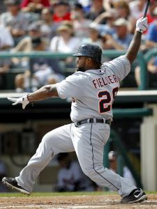 New Tigers first baseman Prince Fielder connects for one of his two hits yesterday.