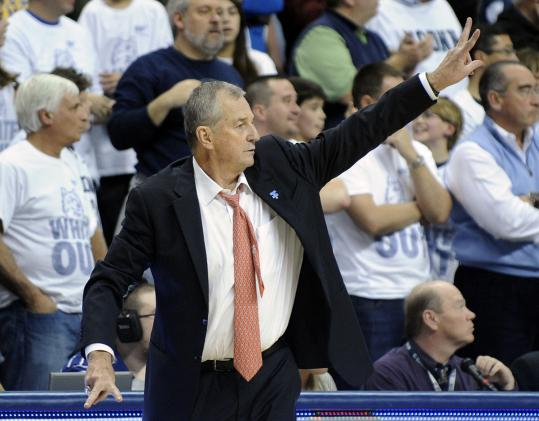 After missing more than a month because of back problems, coach Jim Calhoun was back for Connecticut.