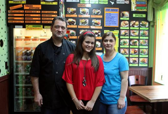 From left, Ender, Miray, and Funda Gokay at Mediterranean Turkish Food in Framingham. Above, their chicken kebab with rice, salad, and hummus. Below, lamb kebab with tomatoes, peppers, and onions at Brookline Family Restaurant; bottom, lamb kebab at Shiraz Persian Cuisine in Watertown.
