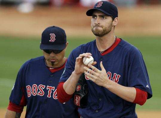 Red Sox reliever Chris Carpenter (right) was rubbed the wrong way in an eighth inning in which St. Louis scored eight runs.