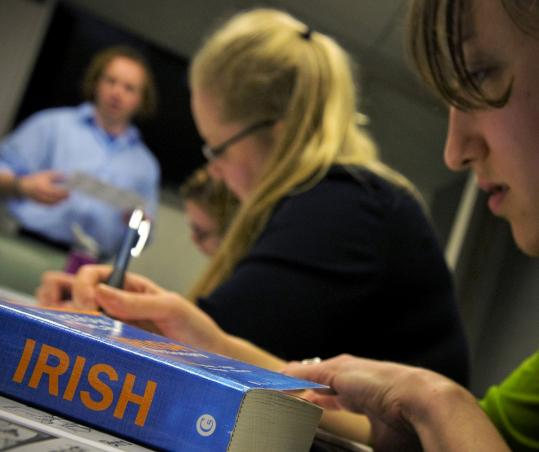 "Ronan Connolly was surprised by the popularity of Catholic University's Irish course. ""I had come across this notion that Americans aren't interested in learning other languages,'' he said."
