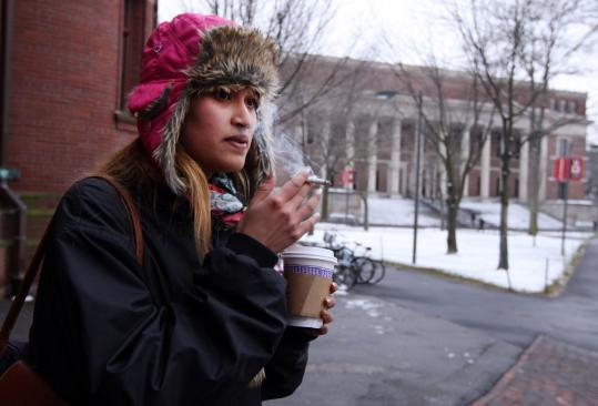 It's OK for Harvard student Selina Zuberi to light up in Harvard Yard, for now. But soon things could change.