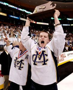 Malden Catholic captain Brendan Collier had plenty to holler about after the Lancers seized the Super 8 hardware.