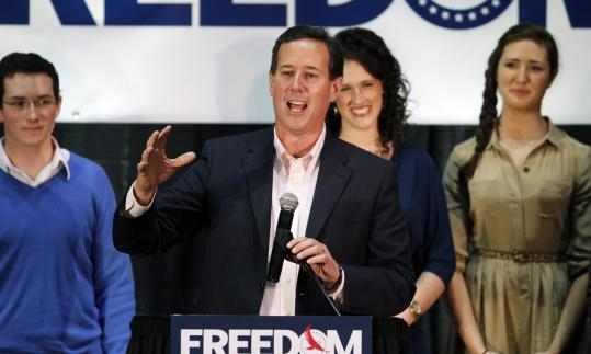 After Louisiana on Saturday, Rick Santorum faces primaries in seven northern states and the District of Columbia. Rival Mitt Romney is favored in most of them.