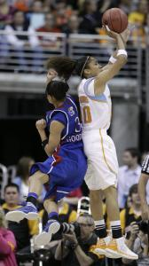Baylor's Meighan Simmons, who had 16 points in the second half, gets her back up in front of Kansas's Angel Goodrich.