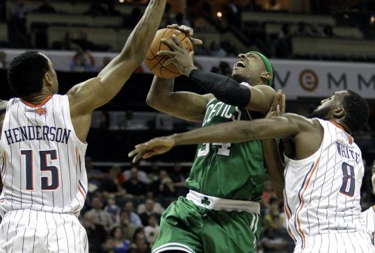 Paul Pierce, who scored a game-high 36 points, paid the price physically for this drive to the basket in the second half.