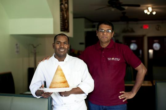Above: Siva Kumar (left, with topi dosai) and Gopala Krishan of Dosa Temple. Below (from left) sundal and malai kofta.