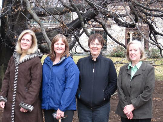 Mary McLaughlin, Joan Faulkner, and Ruth Culleton with Sandy Downes, former president of the Milton Garden Club.