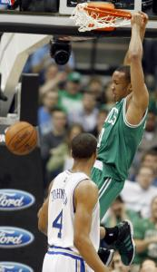 The Celtics&#8217; Avery Bradley rises to the occasion for 2 of his 17 points against Minnesota.