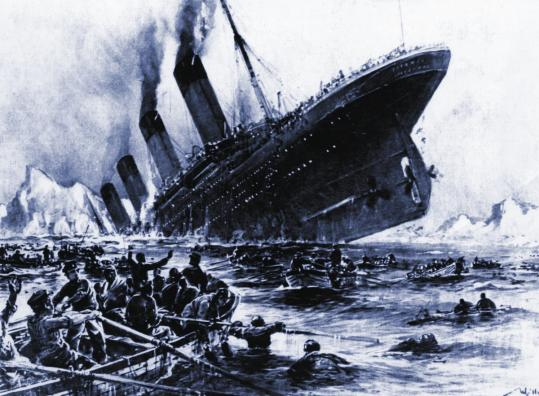 "Artist Willy Stoewer visualized the April 15, 1912, sinking of the Titanic after the massive ocean liner struck an iceberg. A Lexington banker and a Belmont coachman were among more than 1,500 passengers who died when the ""unsinkable'' vessel went down on its maiden voyage."