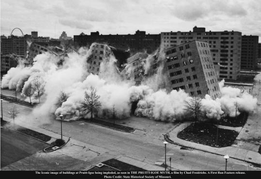 "The buildings at Pruitt-Igoe being imploded in a scene from ""The Pruitt-Igoe Myth."""