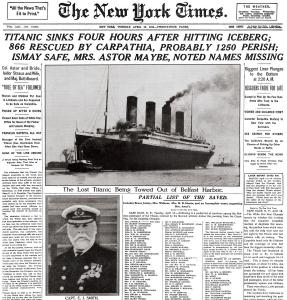 The front page of the New York Times on April 16, 1912, tells the story of the Titanic&#8217;s sinking in the north Atlantic.