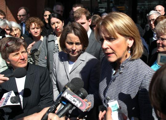 Attorney General Martha Coakley addressed the media Tuesday after a hearing on the Defense of Marriage Act. Her public appearances have fueled questions about her next career move.