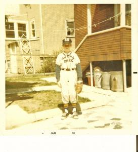 The author proudly modeling his Shore Drug uniform before the start of the 1969 West Medford Hillside Little League season.