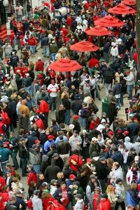 Yawkey Way was wall-to-wall fans on Fenway Park's opening day in 2007. Things have slowed since.