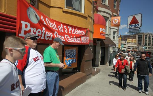 Popeyes Chicken near Fenway Park displayed a sign making some serious fun of the beer and chicken flap surrounding some Red Sox pitchers last season.