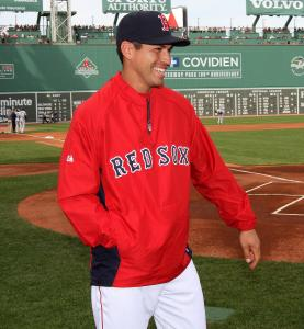The injured Jacoby Ellsbury was on hand Saturday to pick up awards from last season.