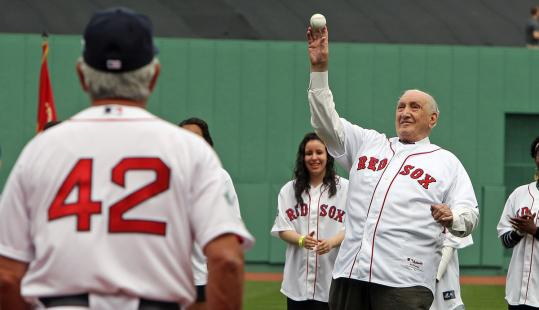 A former teammate of Jackie Robinson's, Ralph Branca, throws a ceremonial first pitch.