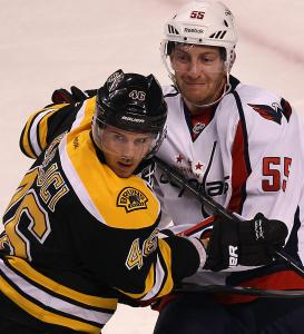The Bruins' top line, centered by David Krejci (left), was held in check by Jeff Schultz (right) and the Capitals in Games 1 and 2.