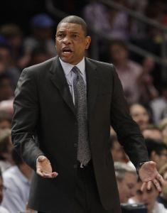 Celtics coach Doc Rivers complains about a call during the first half against the Knicks.