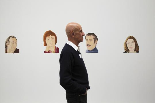 Alex Katz watches the sequencing of his works for his show opening Saturday at the Museum of Fine Arts.