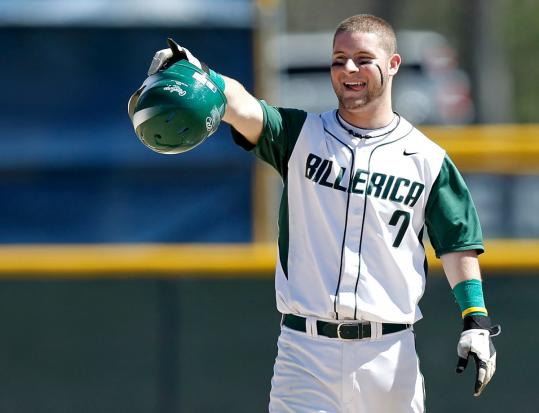 Billerica's Nick LaSpada smiles after hitting a double during a game against Central Catholic.