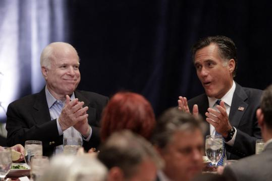Senator John McCain, with Mitt Romney at a GOP event in Arizona Friday, identified big-money bundlers in his 2008 campaign.