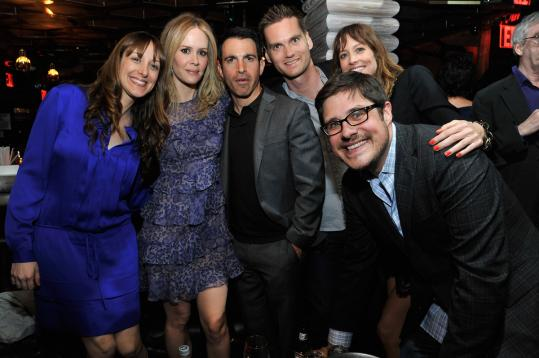 "From left: Actors Natalie Gold, Sarah Paulson, Chris Messina, Tom O'Brien (who also directed), Rich Sommer, and Alexie Gilmore at The Darby after the premiere of their movie, ""Fairhaven,'' at the Tribeca Film Festival Friday."