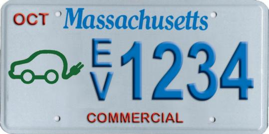The plates include an outline of a vehicle with a plug jutting out from the rear to indicate the car is electrically powered.