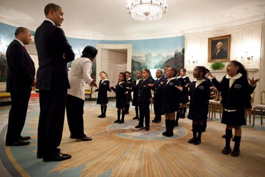 "Governor Deval Patrick brought a class from Orchard Gardens School in Roxbury to the White House in February, where they recited Martin Luther King Jr.'s ""I Have a Dream'' speech."