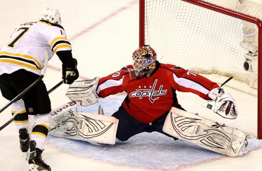 Teammates believe Braden Holtby's mental toughness helps him make saves like this one in Game 6 on Milan Lucic.