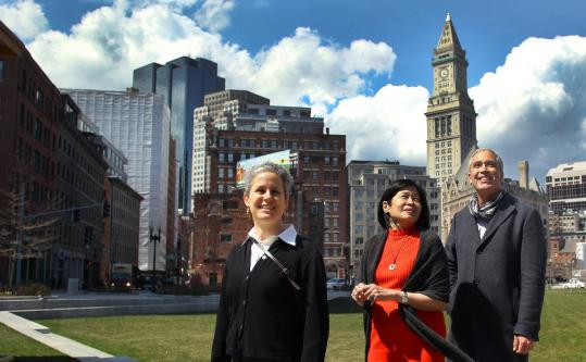 Julie Wormser (left), Vivian Li, and Sean Hennessey of the Boston National Historical Park walked the Greenway.