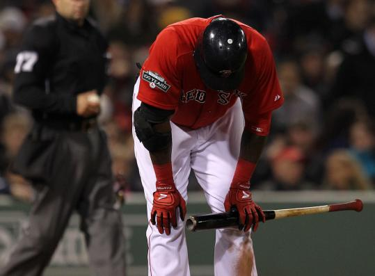 David Ortiz didn't get far after grounding to first base to end the 12th inning. He went 0 for 5.