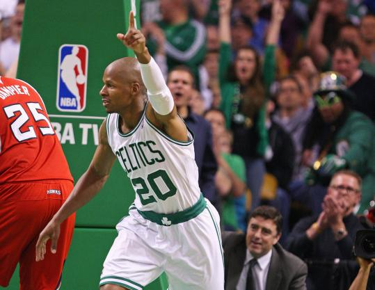 Much of the game's attention was pointed at Ray Allen, who missed all four 3-point attempts but finished with 13 points.