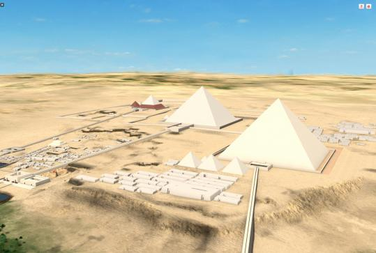 THE PLATEAU Egypt&#8217;s Giza Plateau, as rendered by Dassault Systemes Web app Giza 3D.