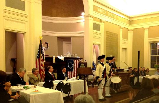 Two members of the Middlesex County volunteer Fifes and Drums perform at the annual Town Meeting in Milton Monday as part of the 305th anniversary celebration.
