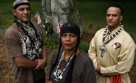 Rosita Andrews, or Caring Hands (center), is the tribal chief of the Natick Praying Indians, and says that the red hawk is a potent symbol to the tribe.